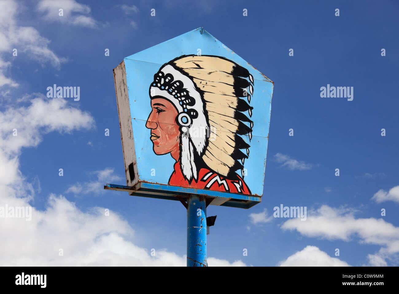 Big Chief gas station sign, Zia Pueblo, New Mexico. - Stock Image