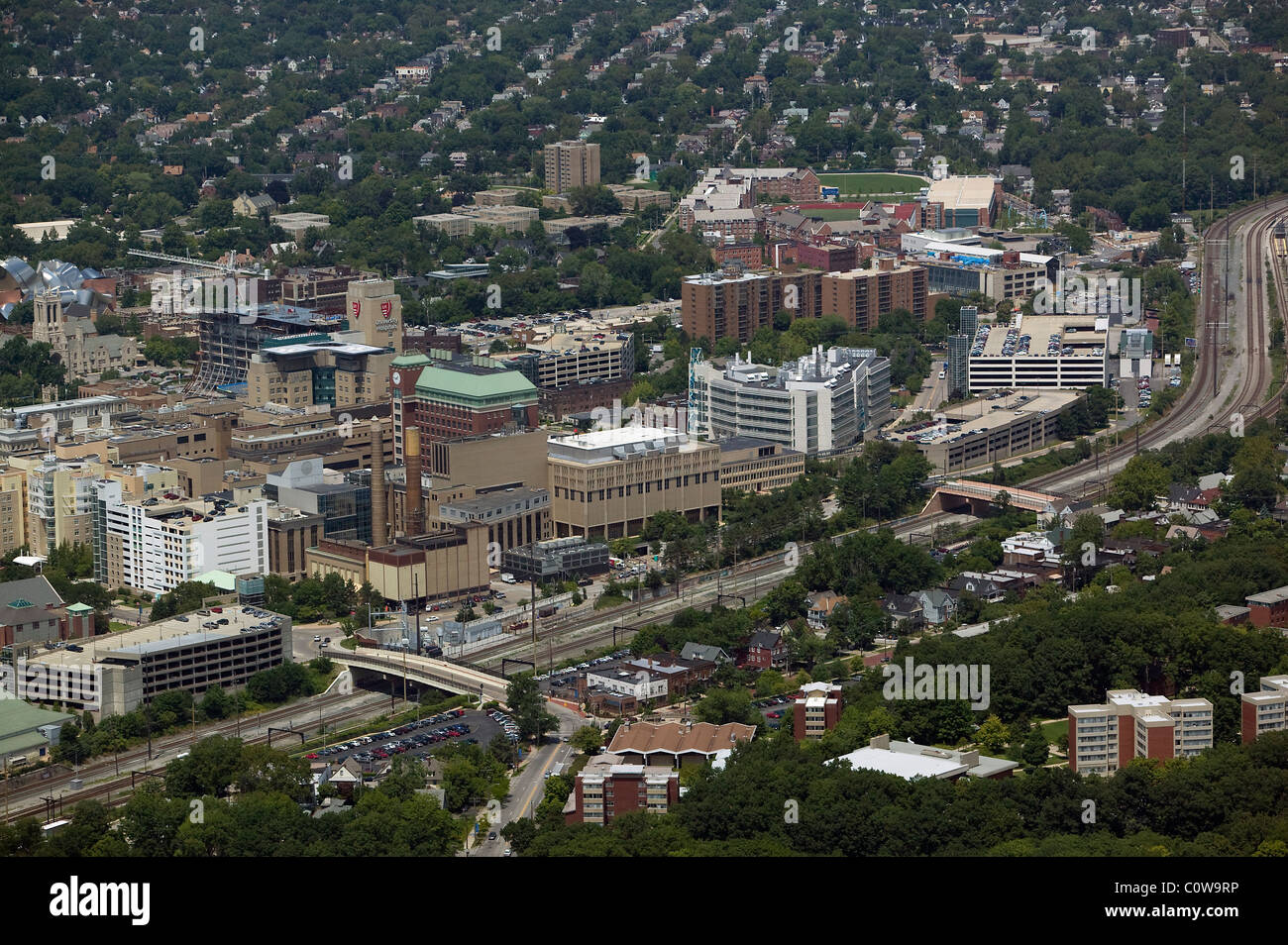 aerial view above medical campus Cleveland Clinic Ohio - Stock Image