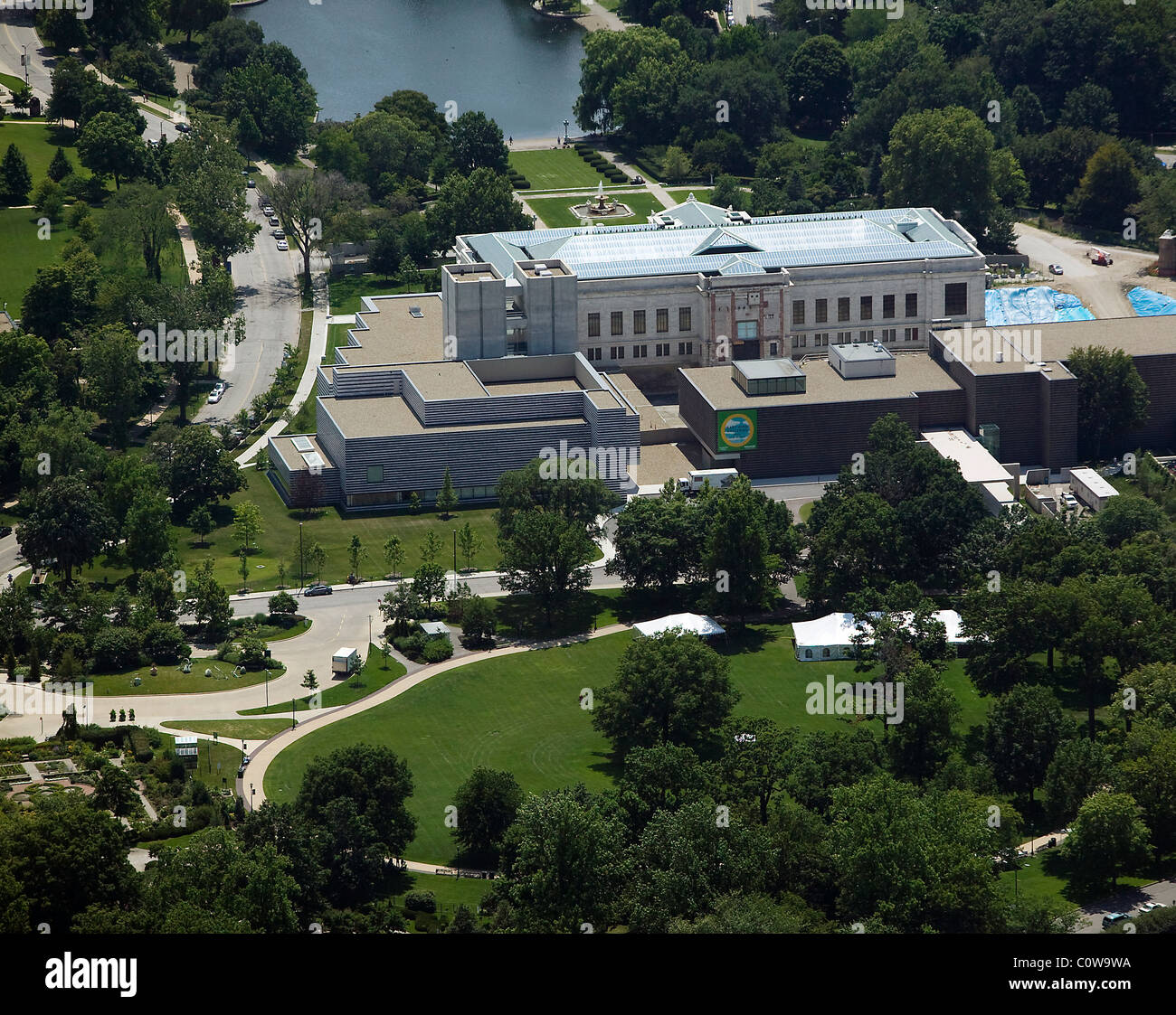 aerial view above Cleveland Art Museum Ohio Stock Photo