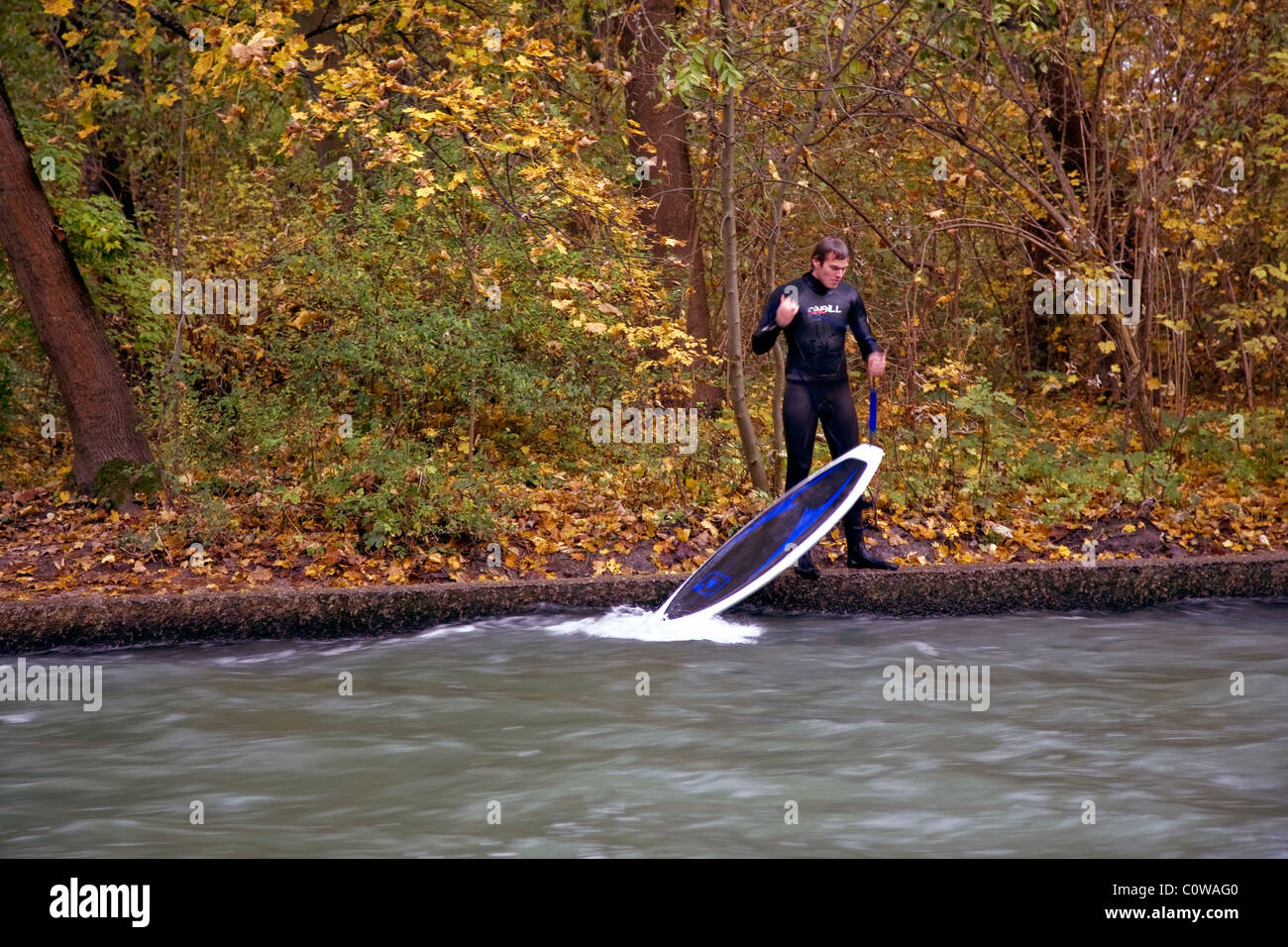 Surfer at the brook Eisbach in the English Gardens park in Munich, Bavaria, Germany at autumn - Stock Image