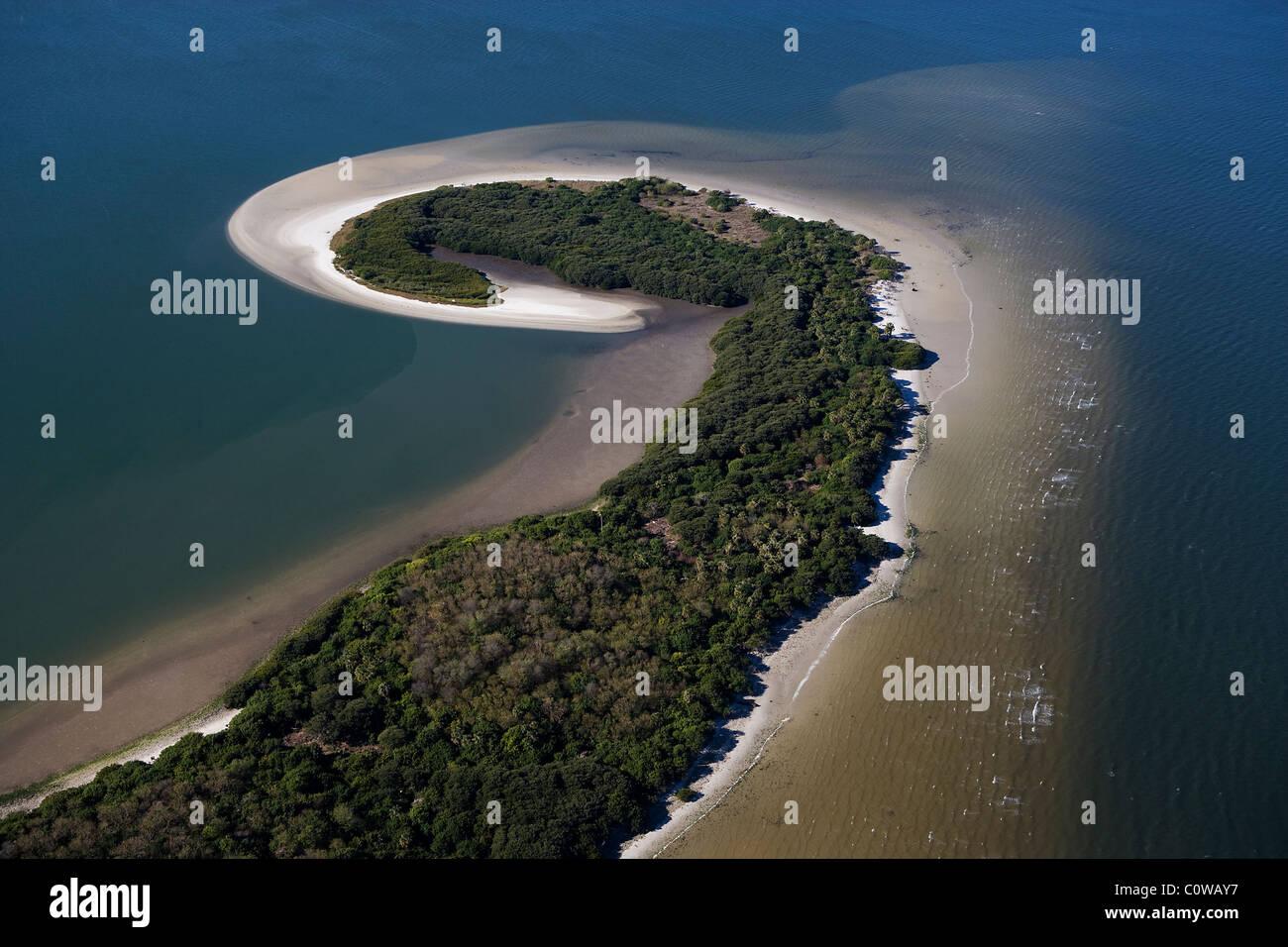 aerial view above sand bar Tampa bay Florida - Stock Image