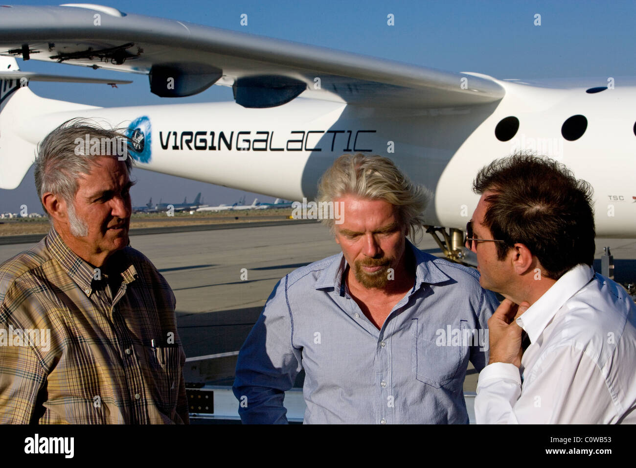 Sir Richard Branson Burt Rutan Virgin Galactic Spaceship Two Mojave Airport - Stock Image