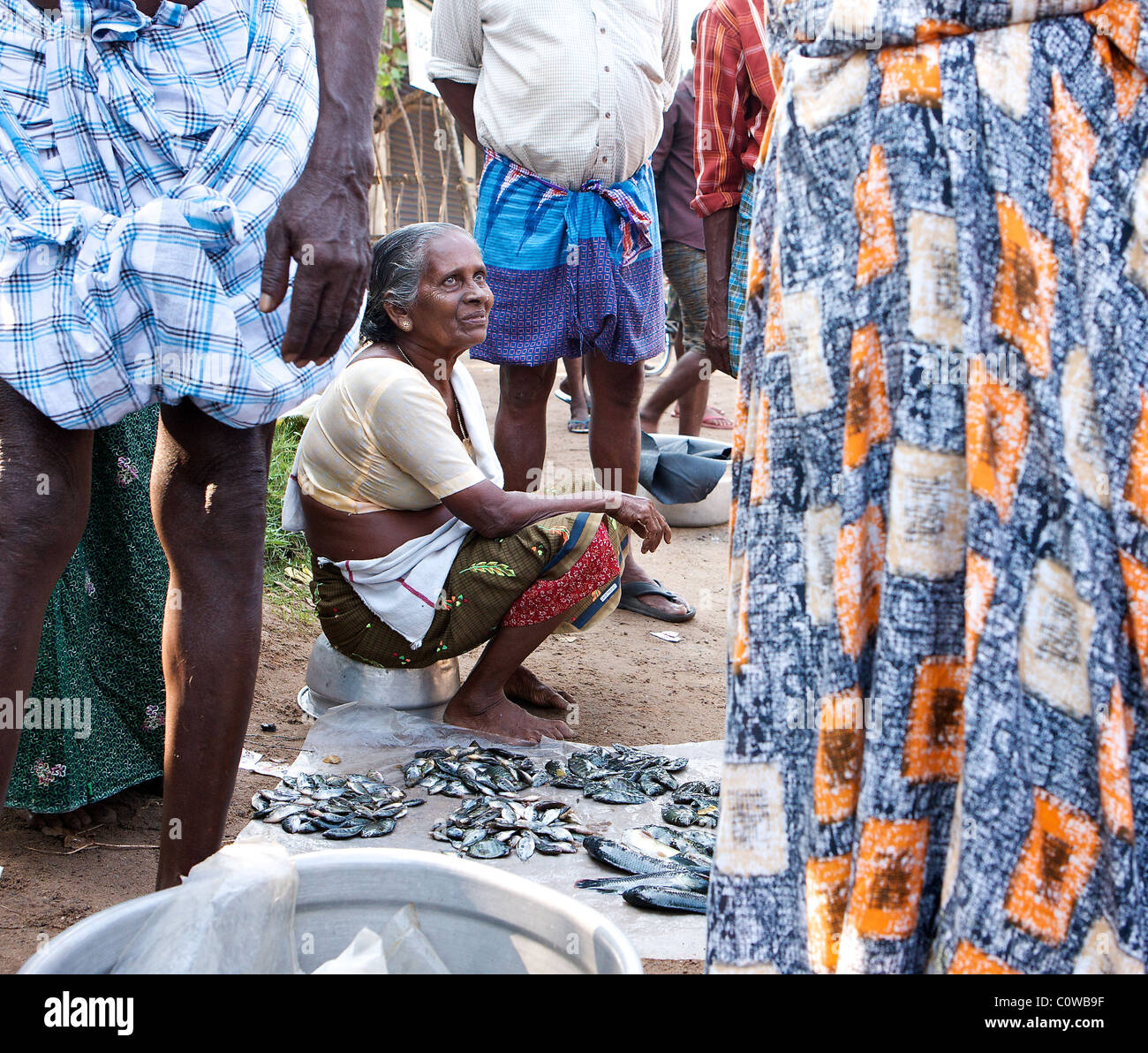 An old Keralite woman waits to sell her fish at a roadside fish market in the Backwaters, Kochi, Kerala, India - Stock Image