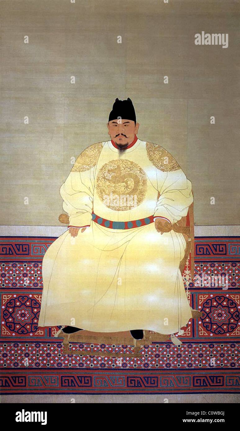 Hongwu Emperor (reigned 1368-1398 AD), Ming Dynasty, China. - Stock Image