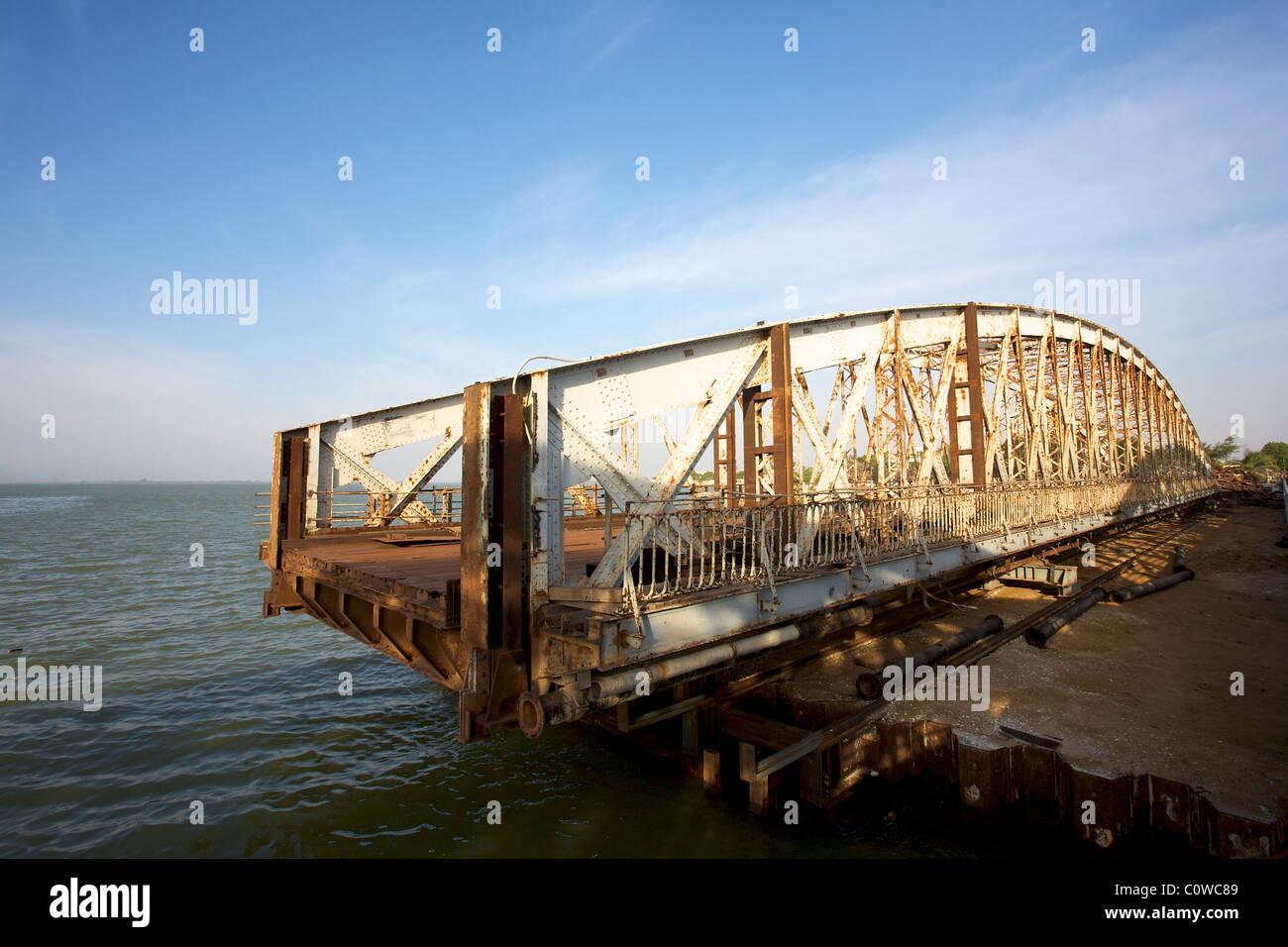 Pont Faidherbe bridge Welcome in Saint-Louis, Senegal - Stock Image