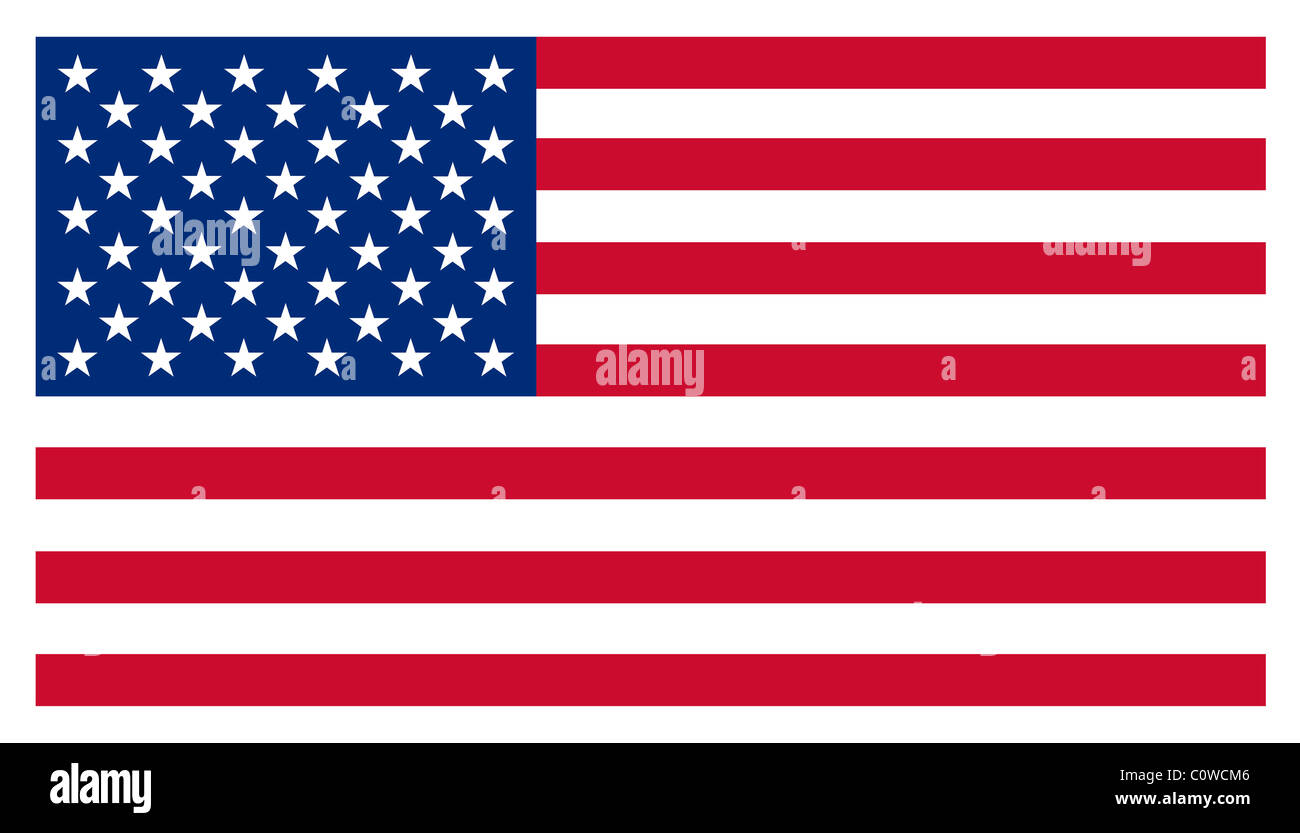 USA Stars and Stripes American Flag Isolated Illustration - Stock Image
