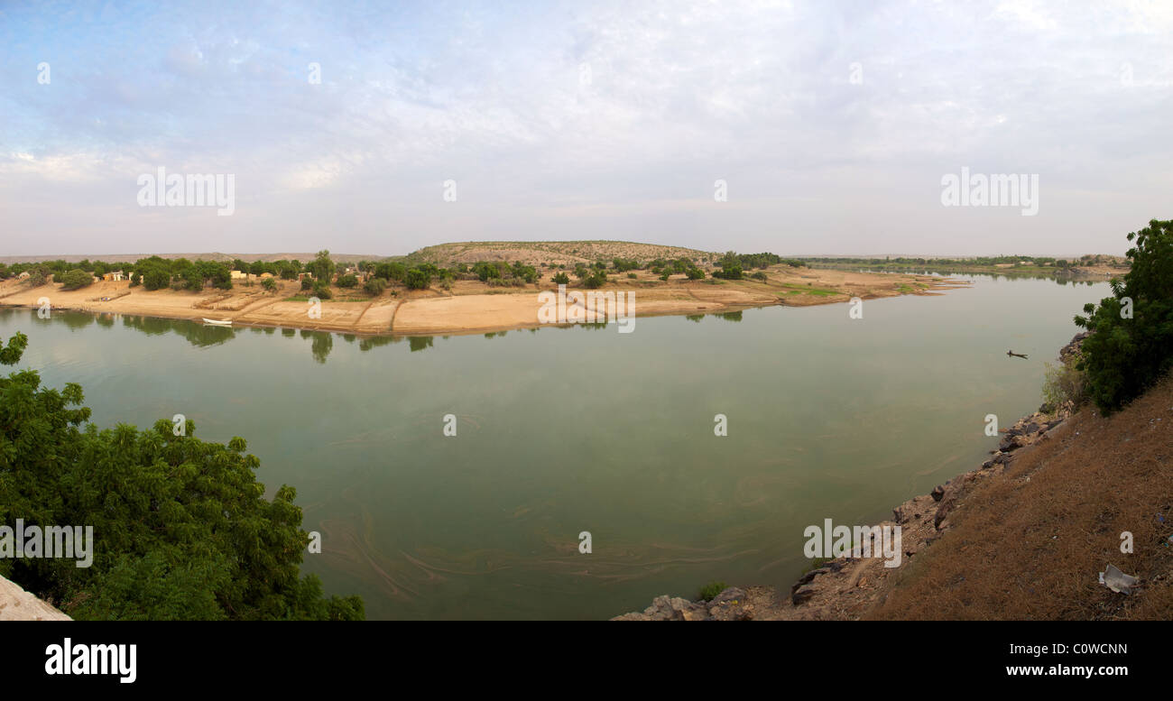 Panoramic view of the river the Senegal from Mauritania - Stock Image