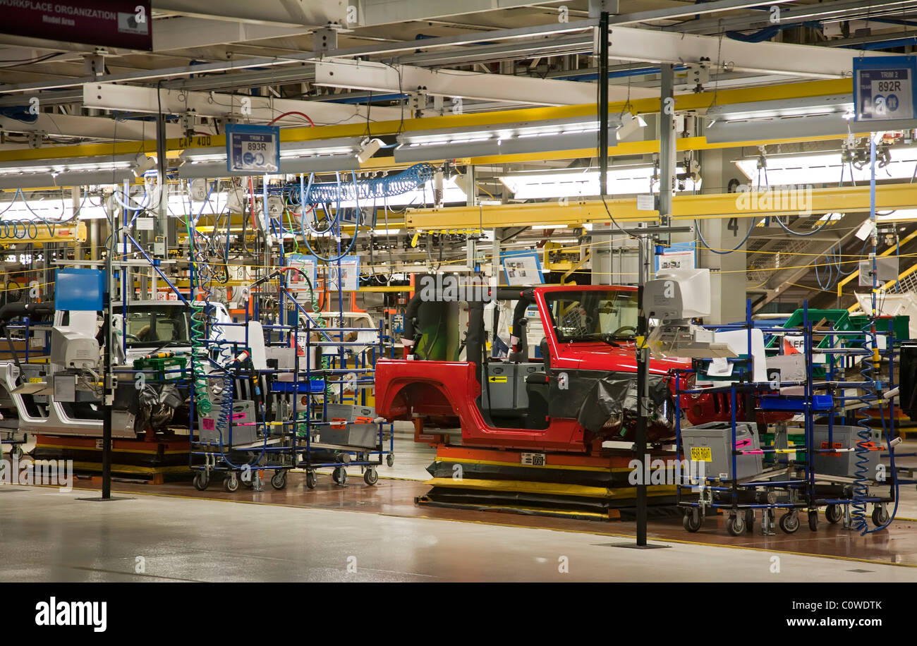 Toledo, Ohio - Jeep assembly line at a Chrysler plant. - Stock Image