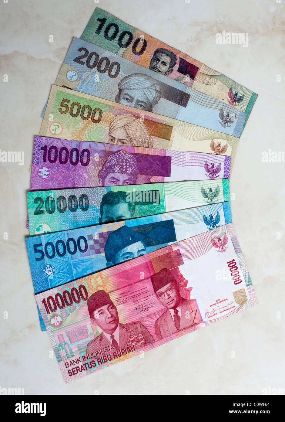Indonesian Currency Notes From 100 000 To 1000 Rupiah Stock Photo