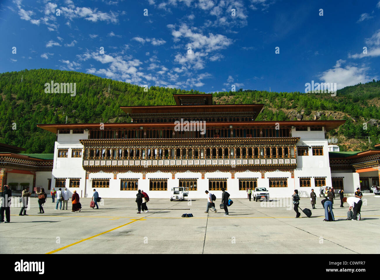 Terminal Building at the Paro International Airport - Stock Image