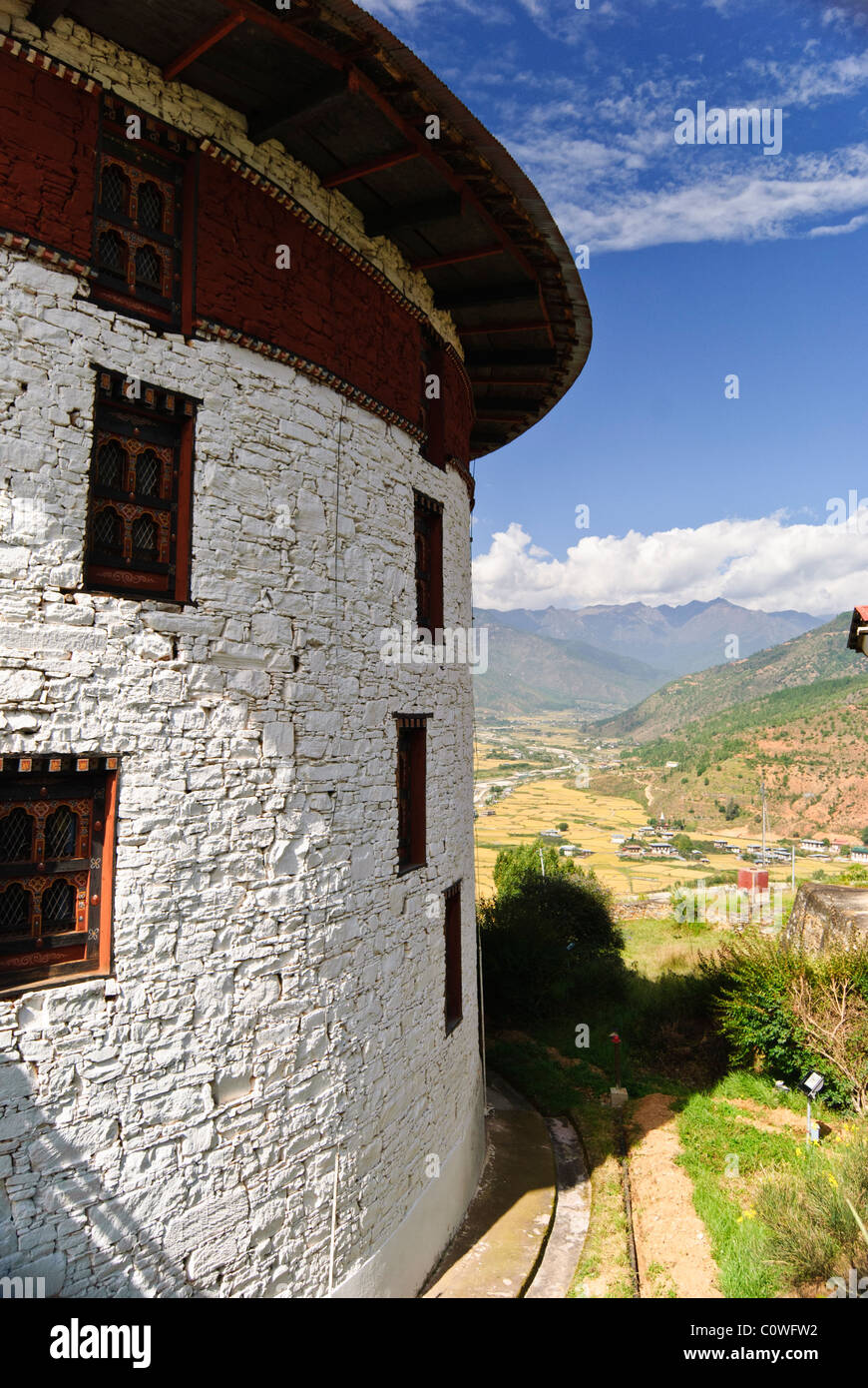 National Museum over the Paro Valley - Stock Image