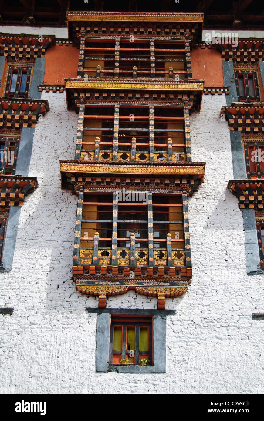 Traditional style building of Bhutan, Paro Dzong - Stock Image