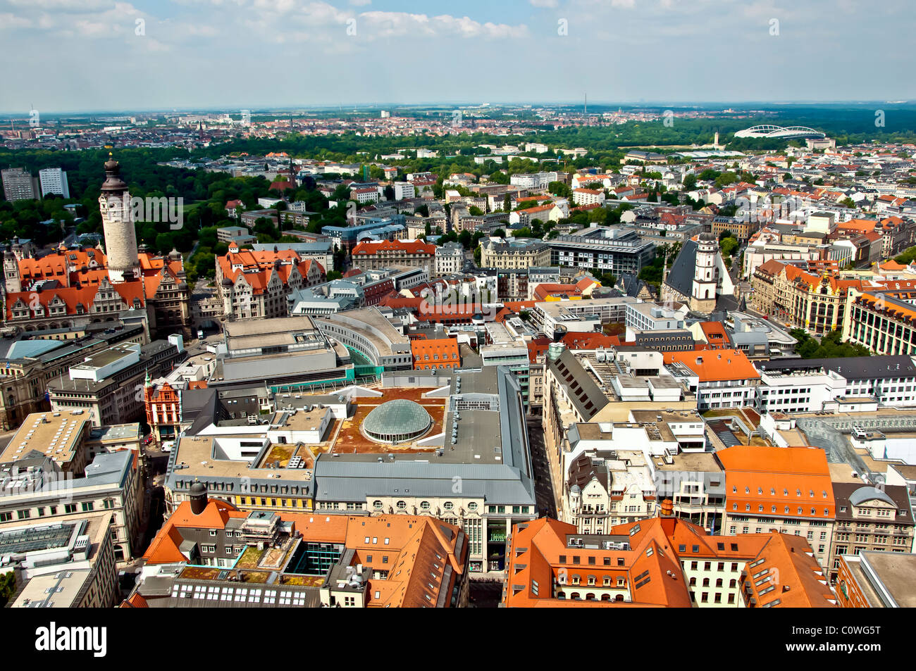 Aerial City of Leipzig, State of Saxony, Germany - Stock Image