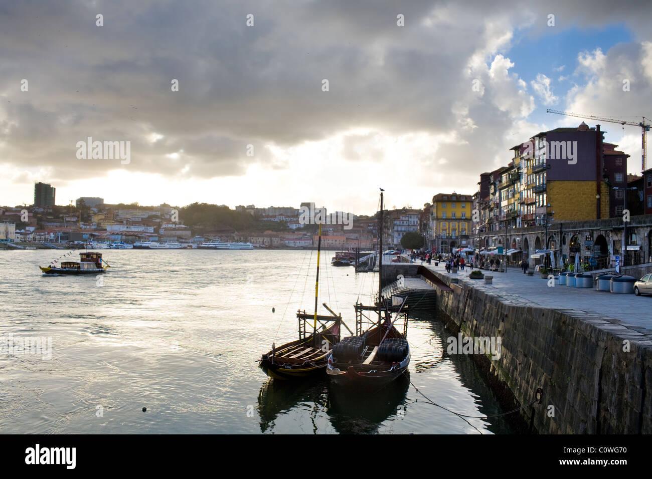 Cais de Ribeira, and Douro River, Oporto, Portugal - Stock Image