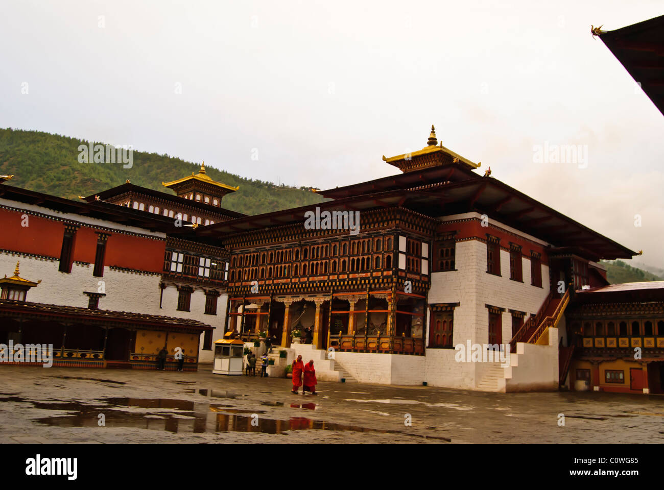Courtyard and building in Thimphu Dzong, Thimphu, Bhutan - Stock Image