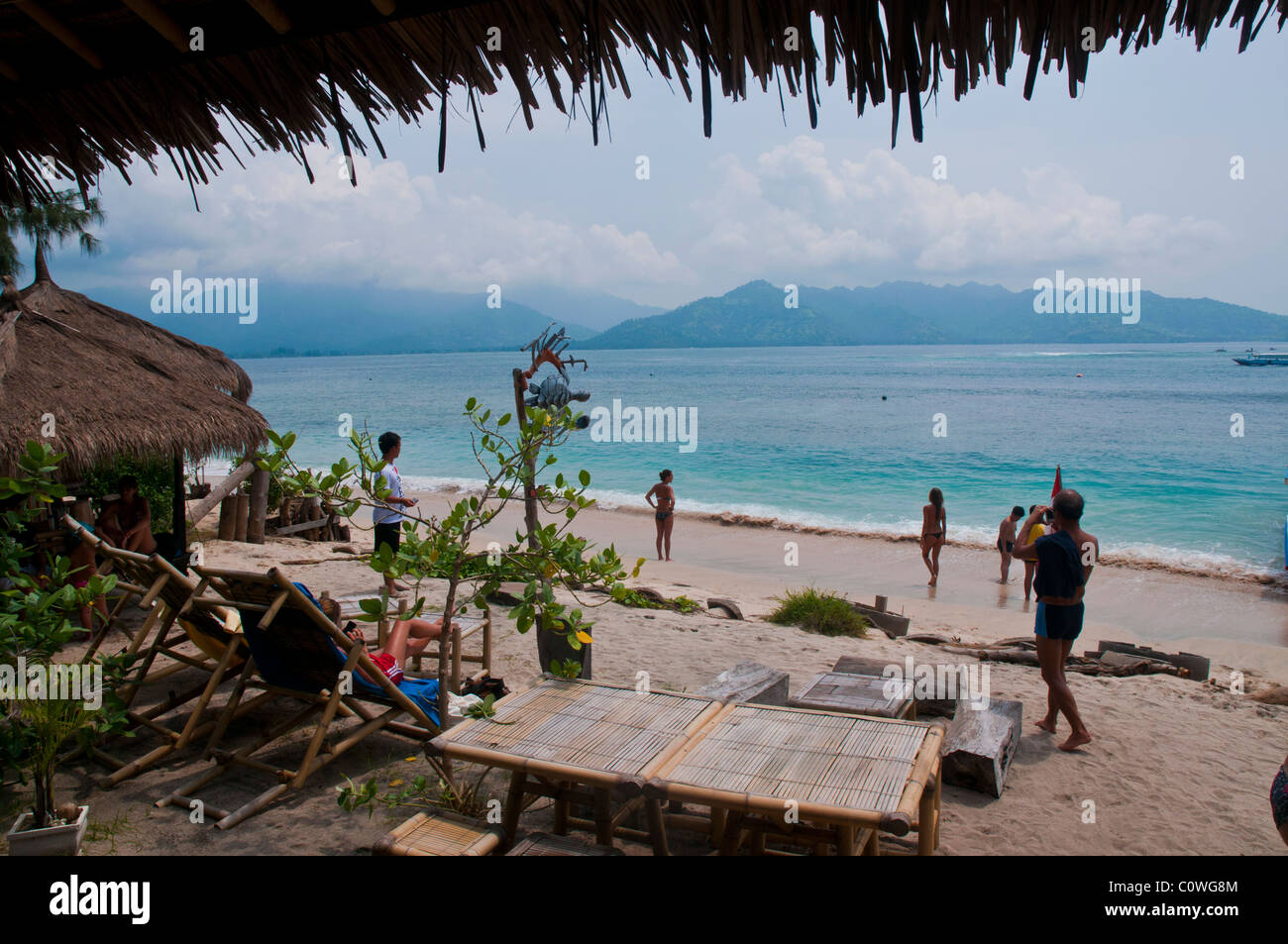 Beach at Gili Air the smallest island of the Gili group off Lombok Indonesia - Stock Image