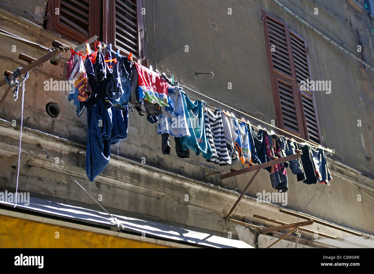clothesline in Napoli Italy - Stock Image