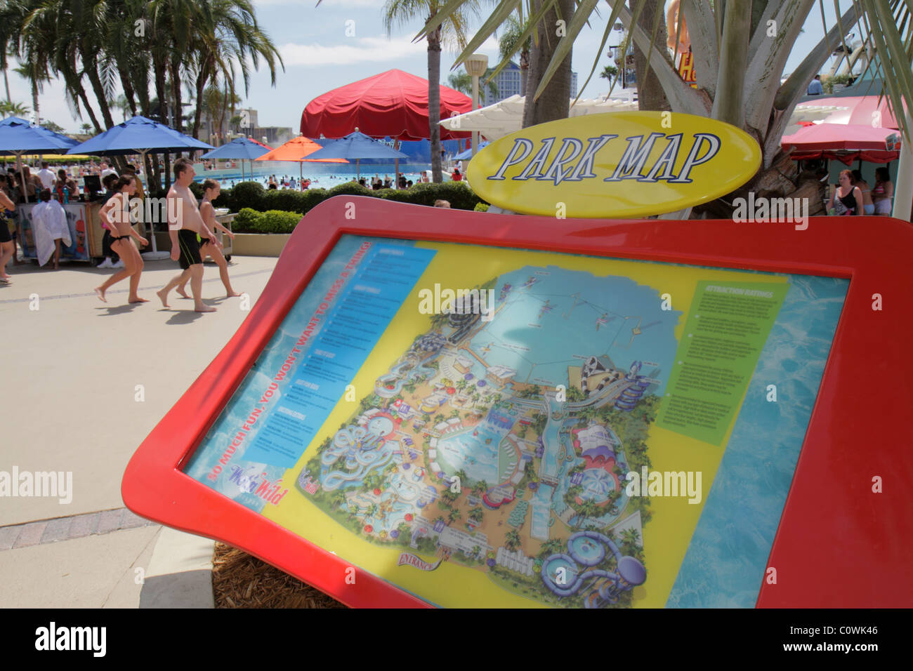 Orlando Florida International Drive Wetn Wild water park map Stock