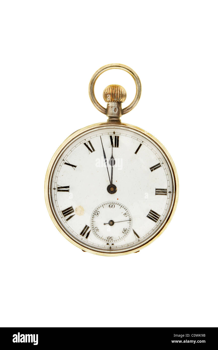 Antique pocket watch set at two minutes to twelve - Stock Image