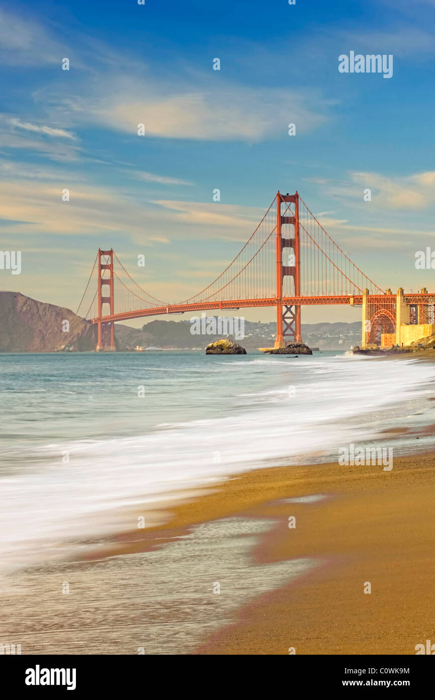 Usa, California, San Francisco, Baker's Beach and Golden Gate Bridge - Stock Image
