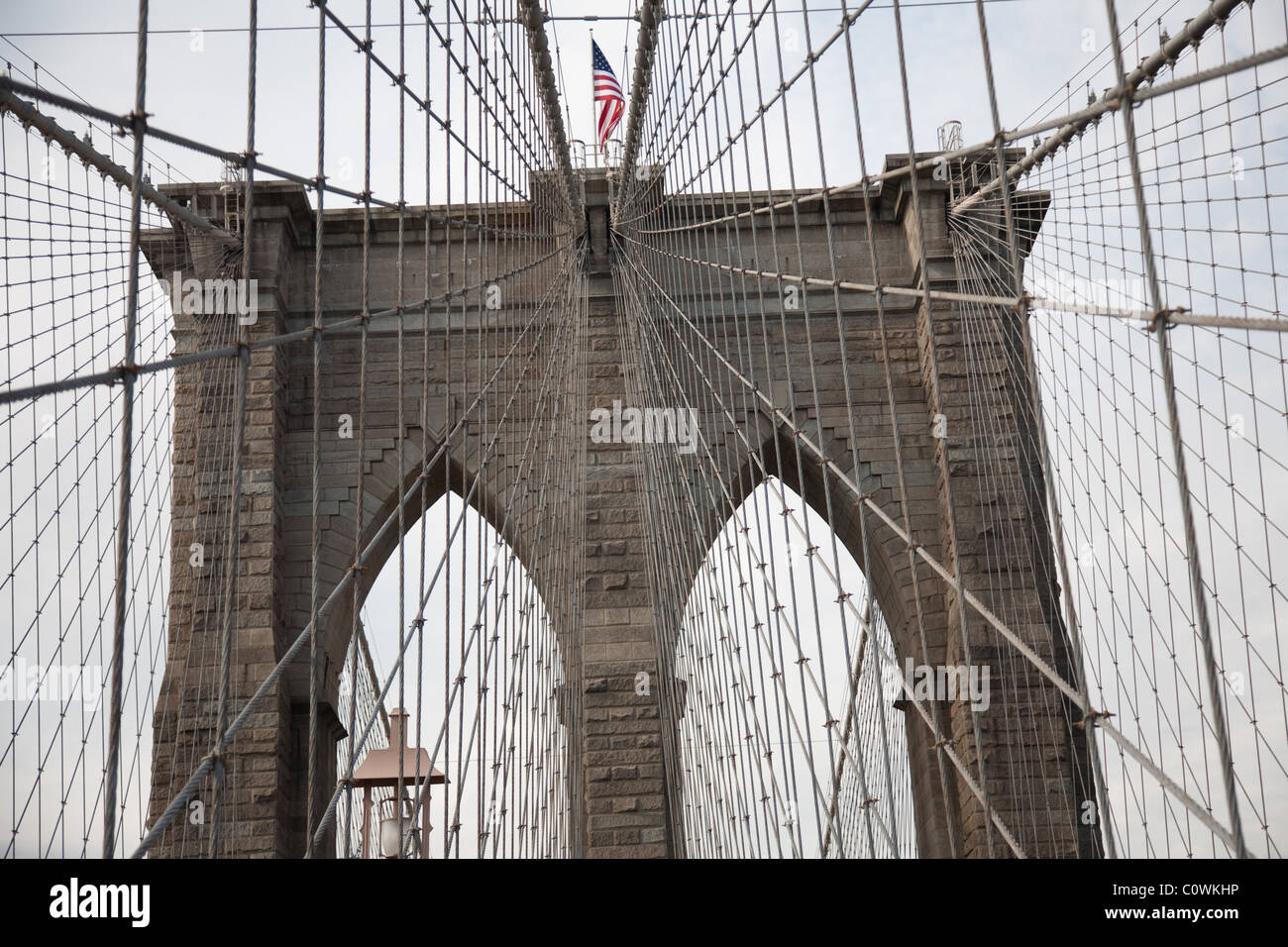 Brooklyn Bridge steelwork and arches - Stock Image