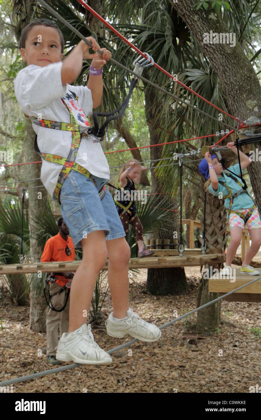 Orlando Florida Sanford Central Florida Zoo & and Botanical Gardens ZOOm Air Adventure Park aerial treetop tree - Stock Image