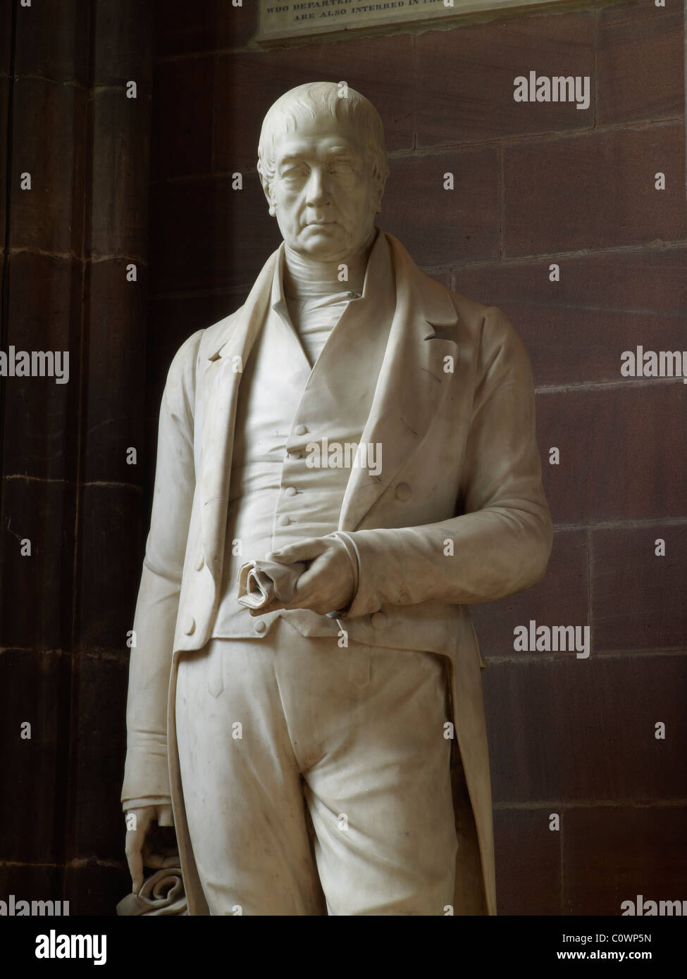 Manchester Cathedral Fleming statue - Stock Image