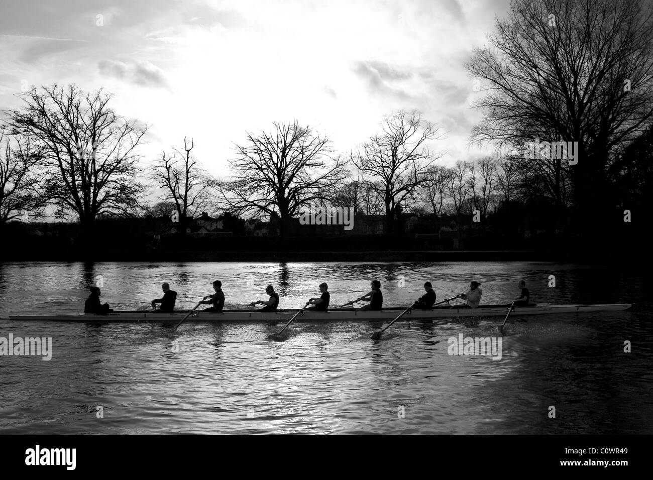 boat rowing oxford river black white - Stock Image