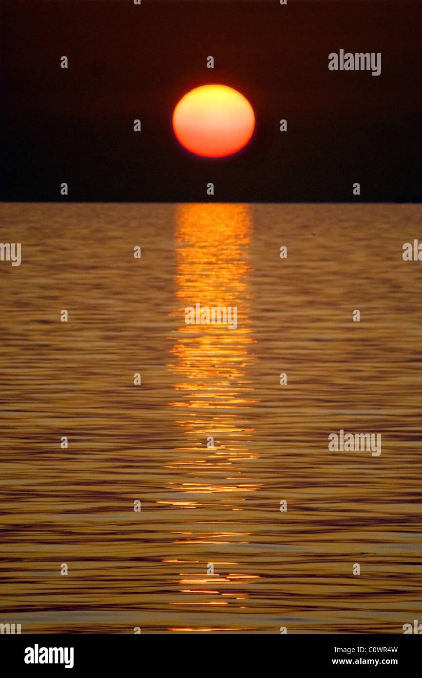 Midnight Sun at North Cape - Stock Image