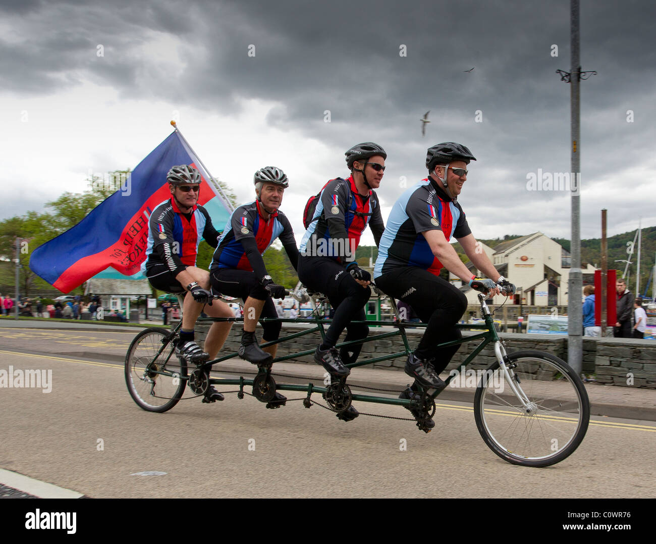 The 3 Peaks Cycle Climb Team of 10 men SUCCESSFULLY COMPLETED THEIR CHALLENGE in May 2010. Raising over £20K - Stock Image