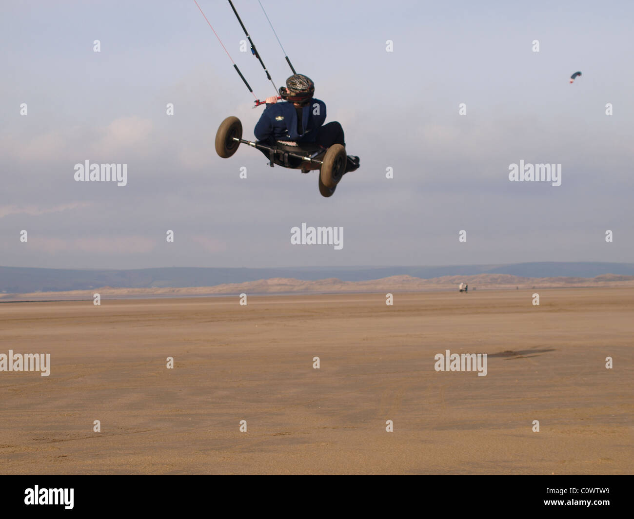 Kite Buggying, Westward Ho!, Devon, UK Stock Photo