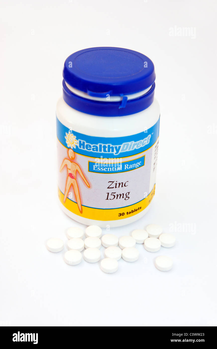 zinc tablets can lessen the severity & duration of the common cold so speeds recovery - Stock Image