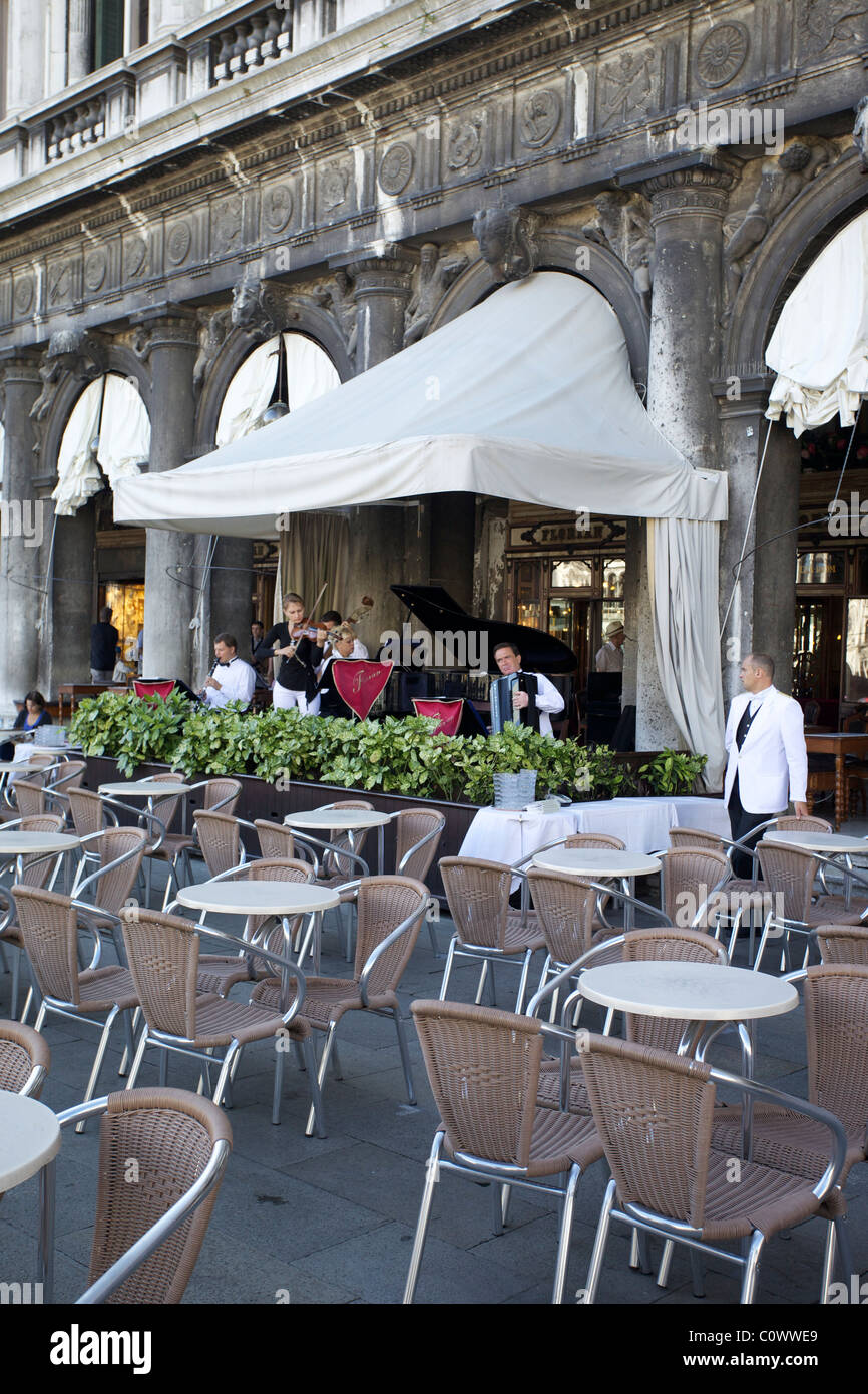 A Band Play At One Of The Restaurants On St Marks Square Piazza In