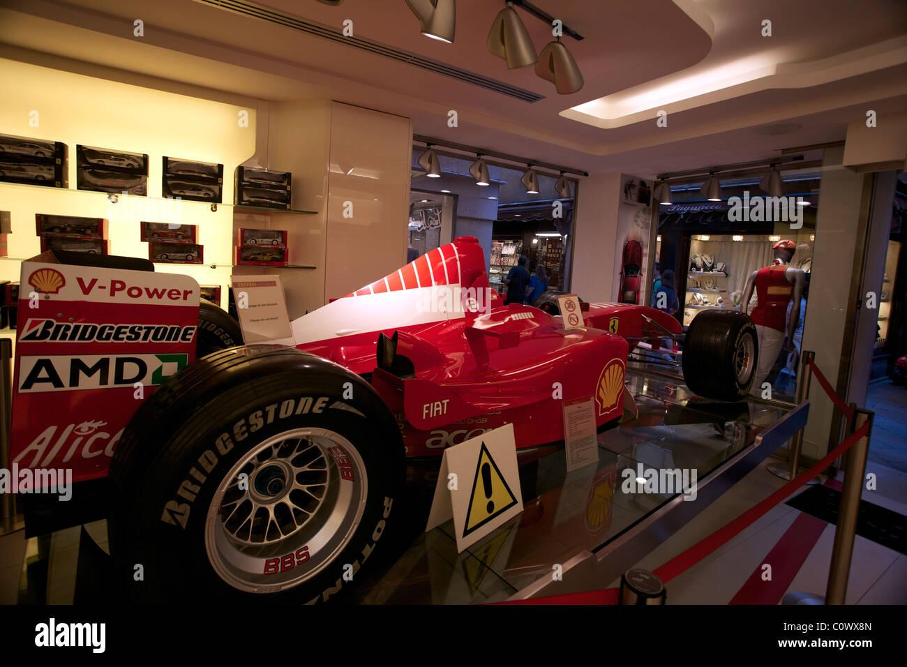 Formula 1 Ferrari in the Ferrari store in Venice Italy Stock Photo