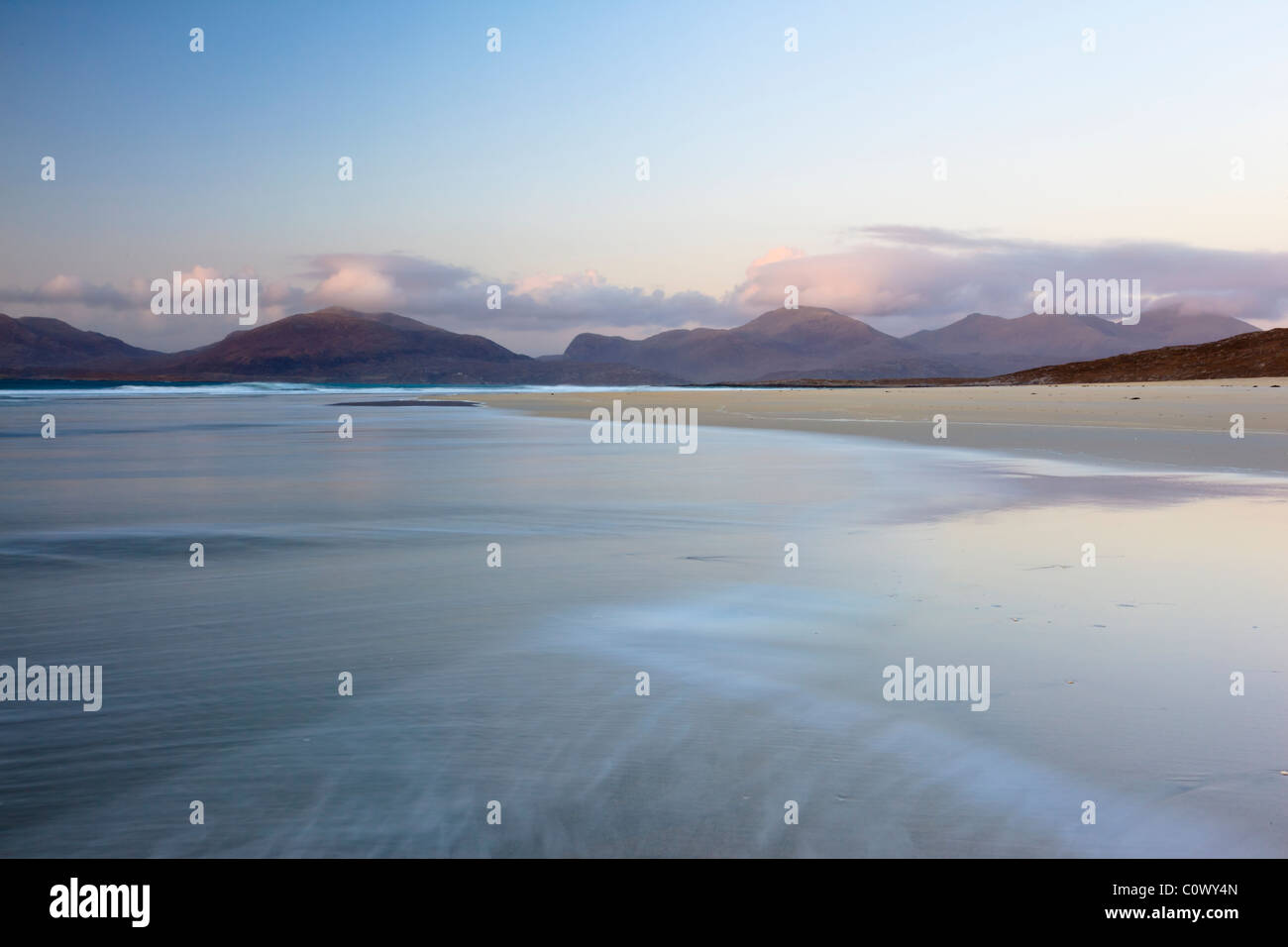 HThe North Harris hills seen from Luskentyre beach - Stock Image