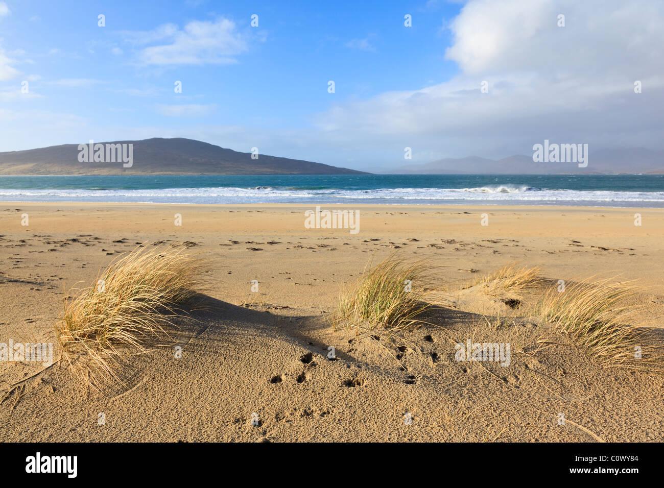 The isle of Taransay seen from Luskentyre beach - Stock Image