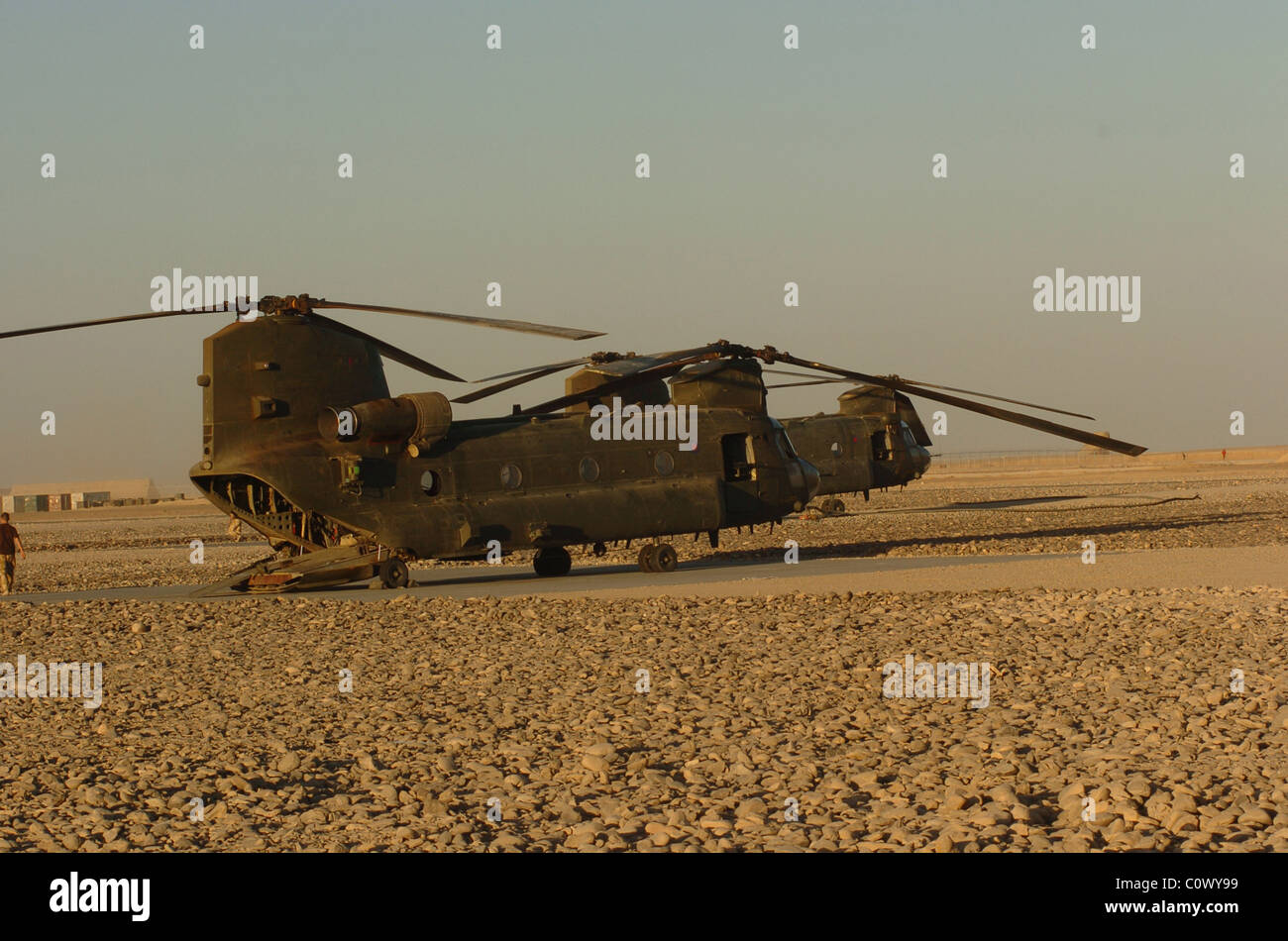 The Boeing CH 47 is a versatile twin engine Tandon rotor heavy lift helicopter its top speed off hundred and 17 - Stock Image