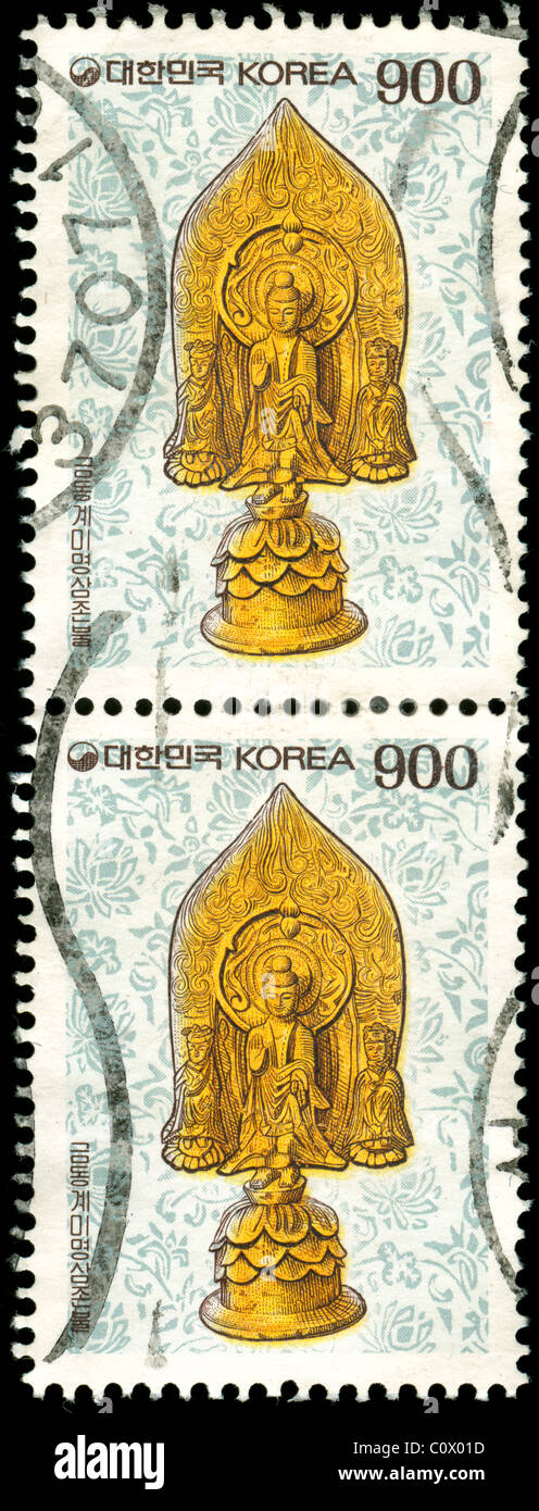 Used stamps from Korea scanned on black - Stock Image