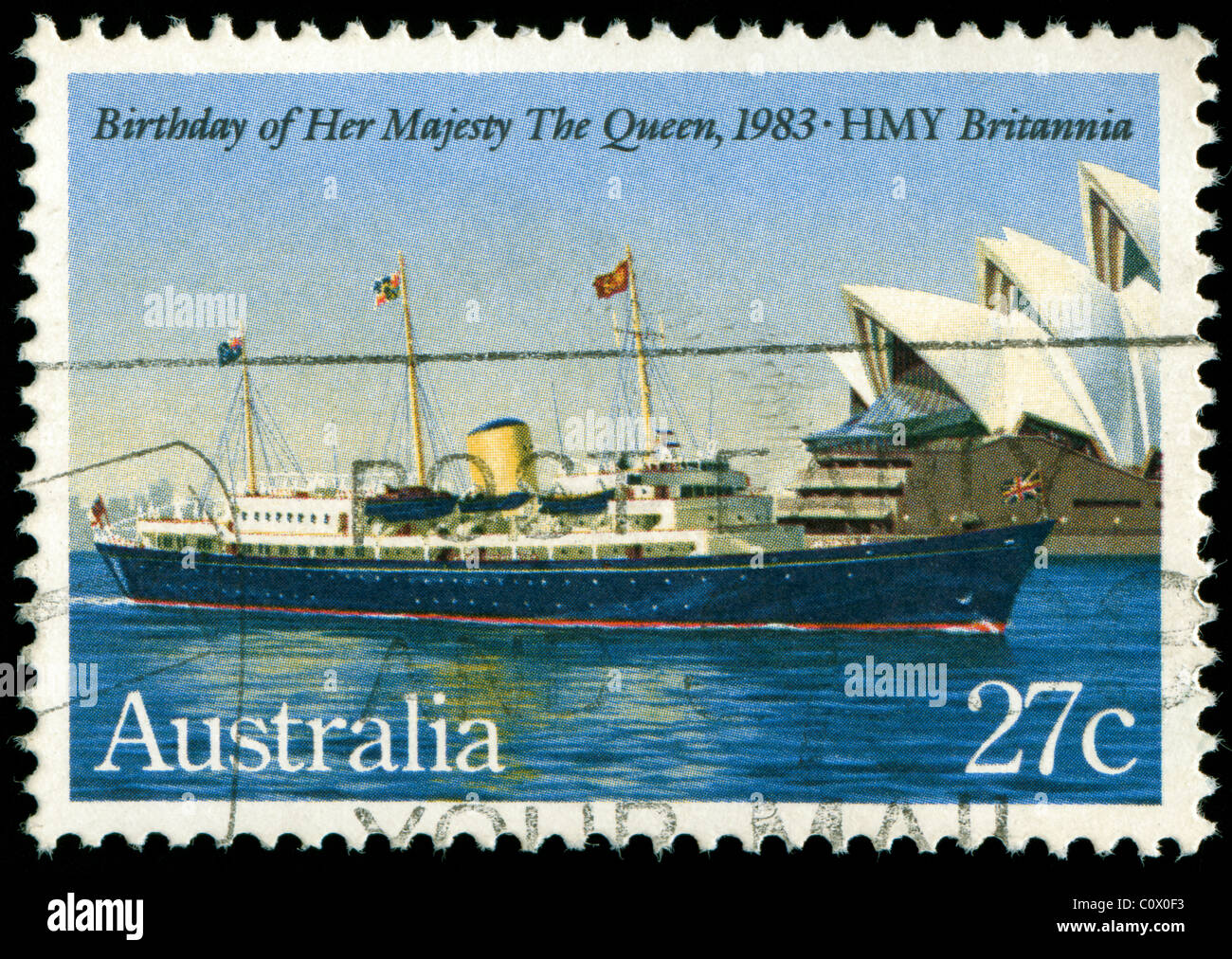 Stamp from Australia commemorating the birthday of the Queen 1983 - Stock Image