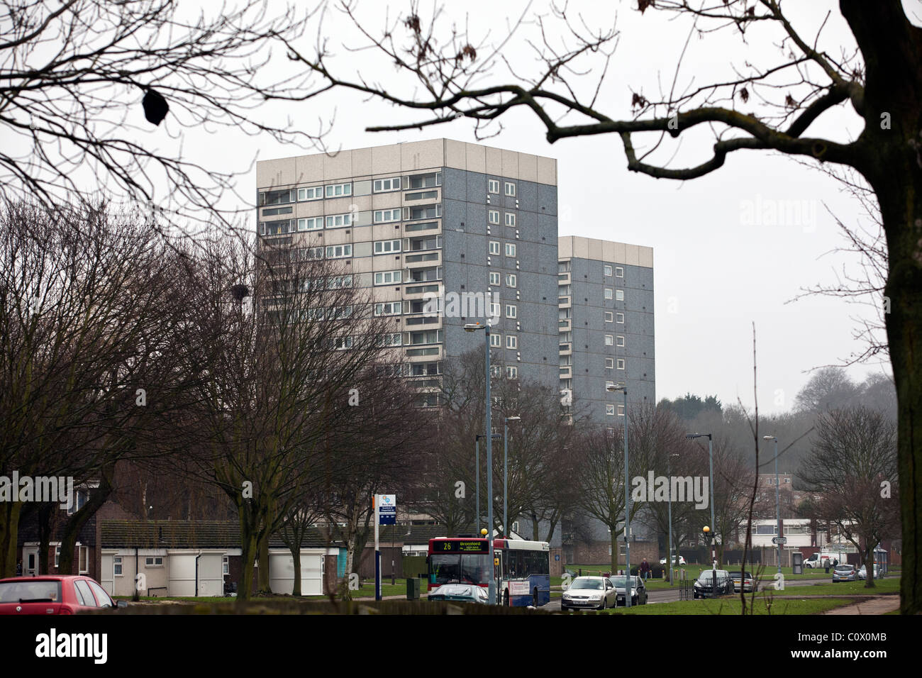 A view of residential tower block apartments in the Hodge Hill area of Birmingham, UK. - Stock Image