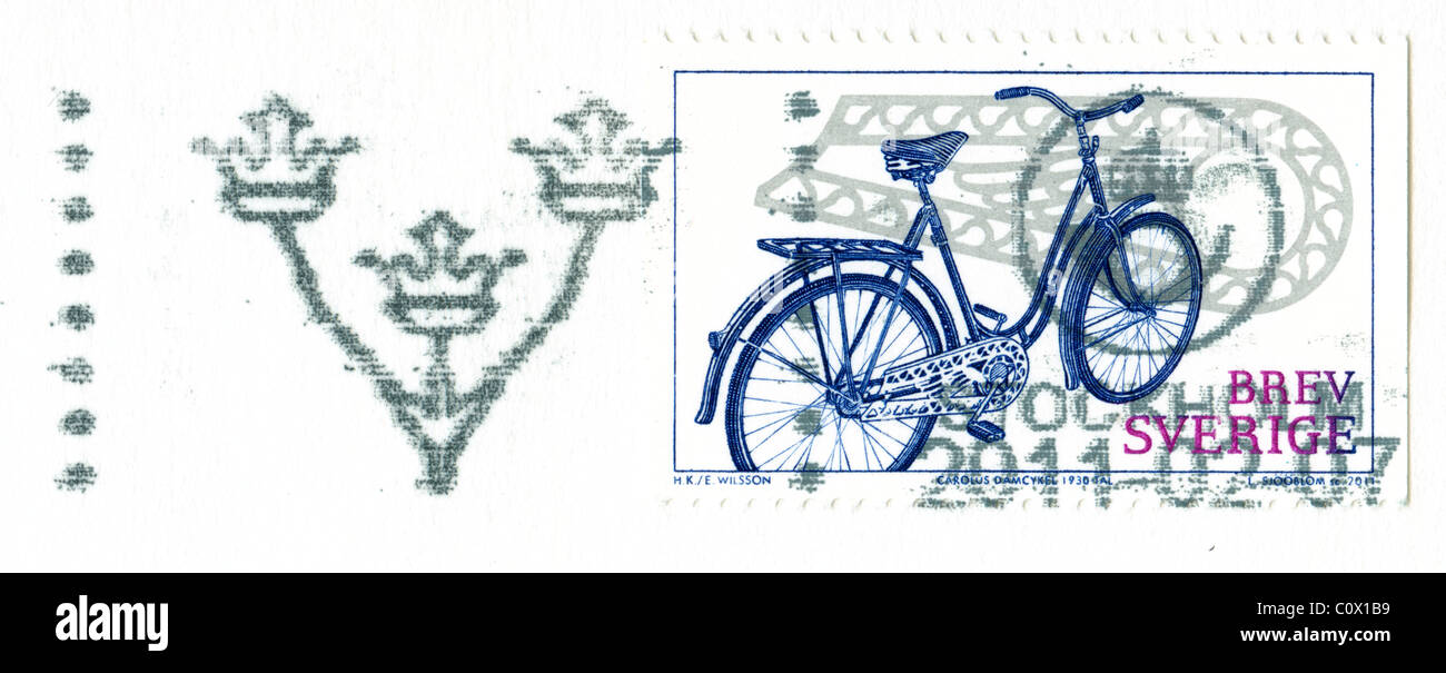 Postmarked stamp from Sweden 2011 in the Bicycle series - Stock Image