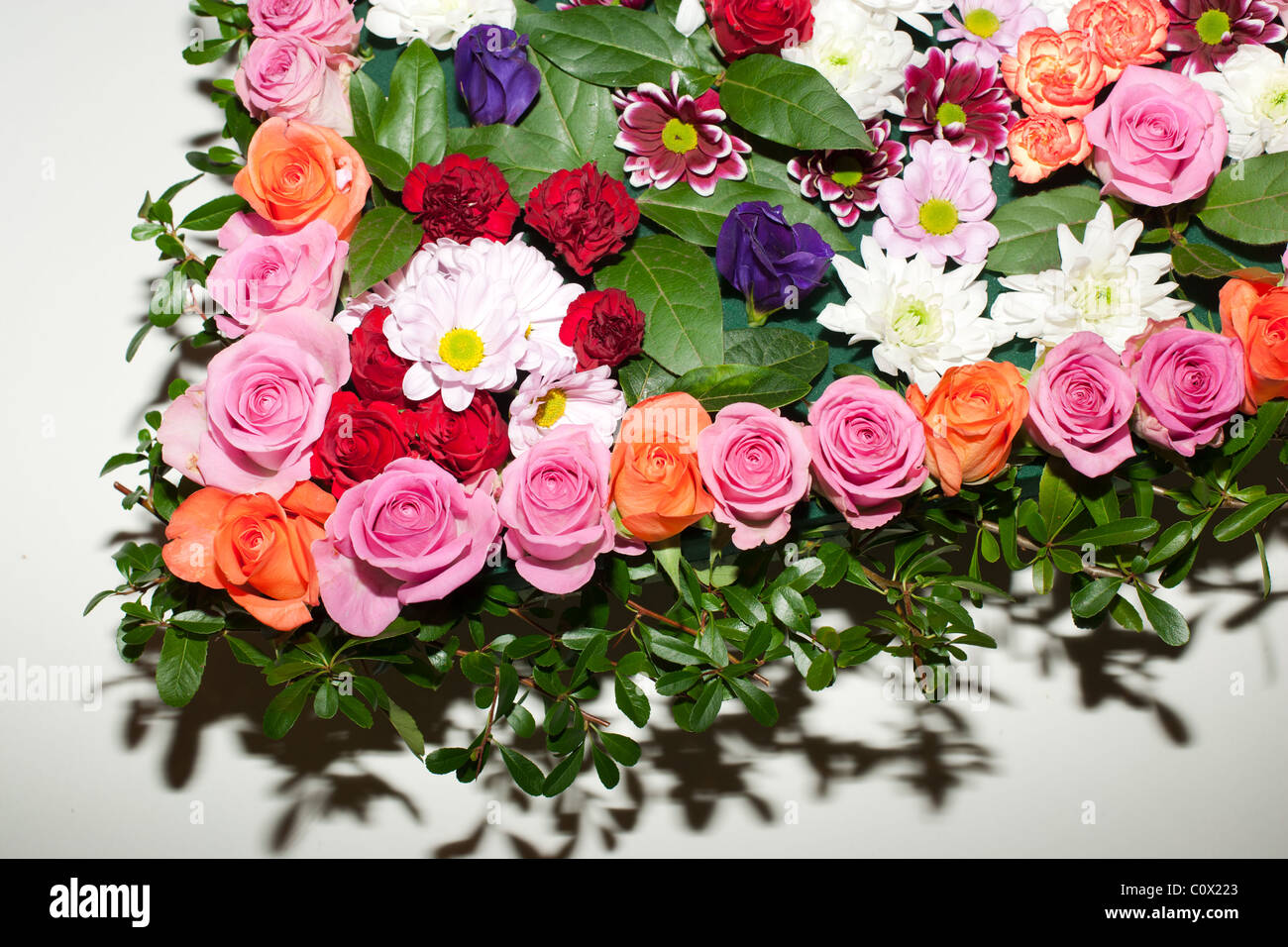 Heart shaped funeral flowers stock photo 34993115 alamy heart shaped funeral flowers izmirmasajfo