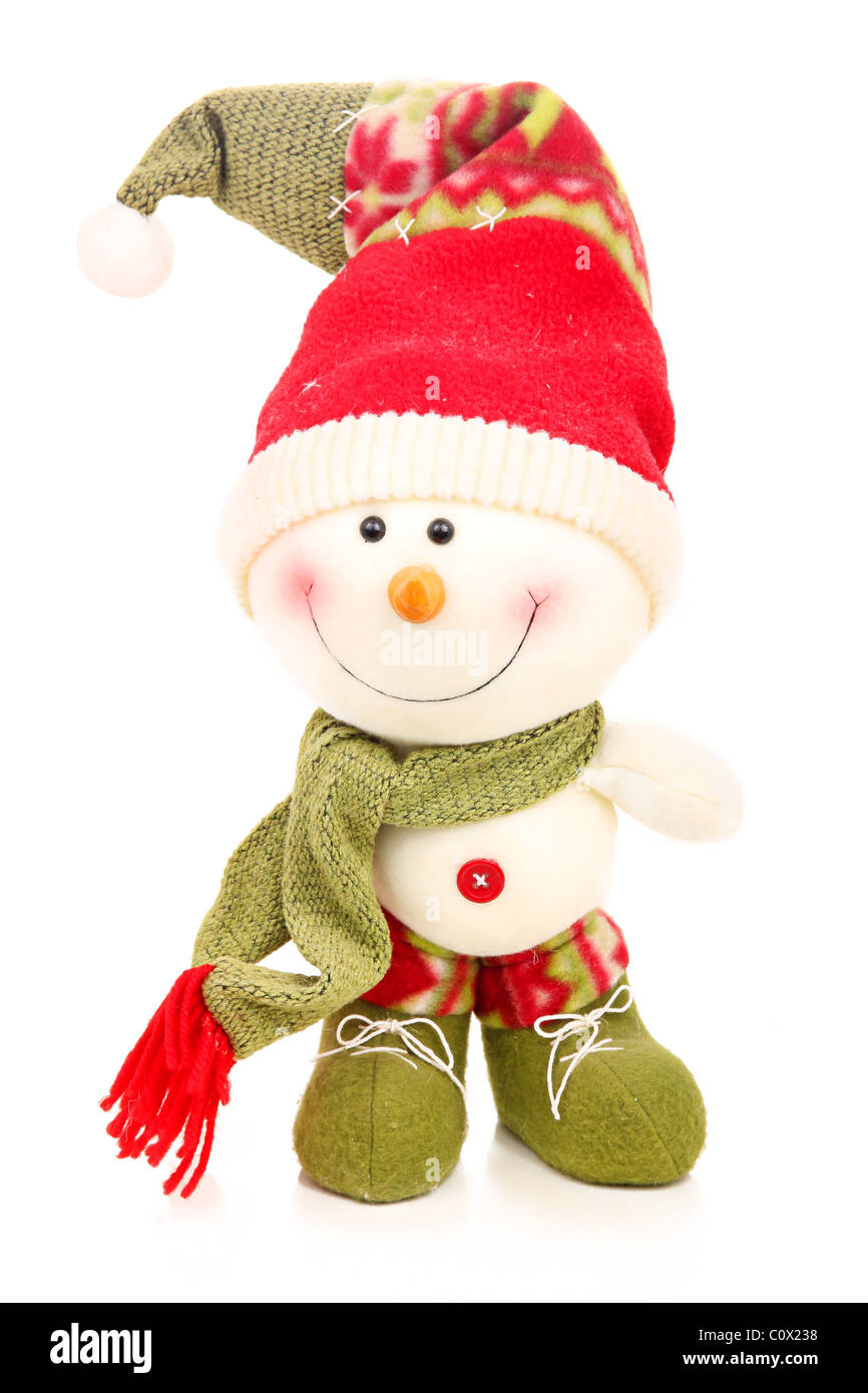 Christmas snowman isolated on a white - Stock Image