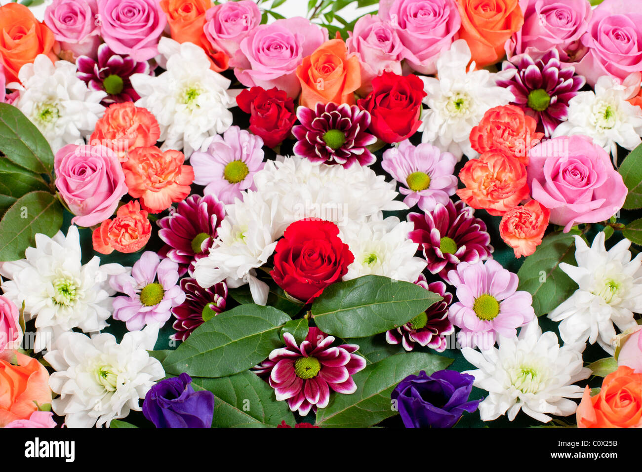 Heart shaped funeral flowers stock photo 34993207 alamy heart shaped funeral flowers izmirmasajfo