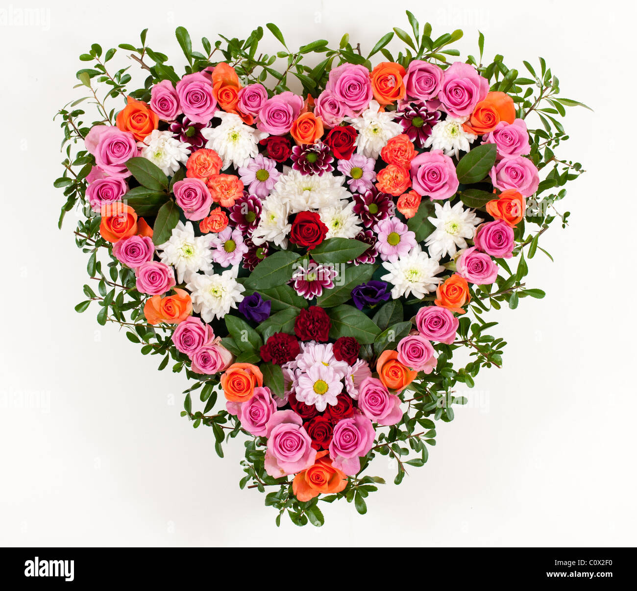 Heart shaped funeral flowers stock photo 34993476 alamy heart shaped funeral flowers izmirmasajfo
