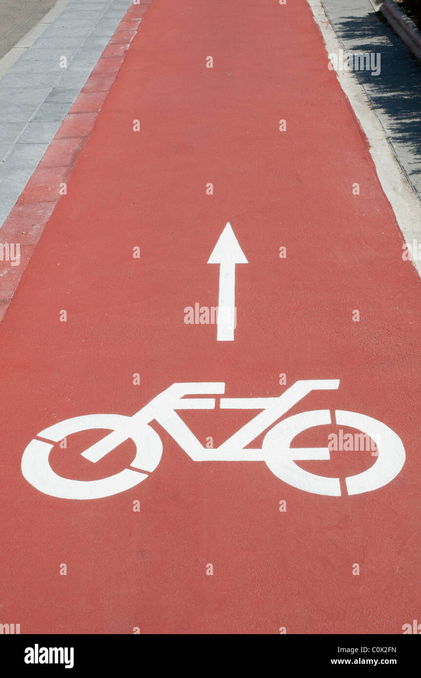 Cycle lane pictogram. - Stock Image