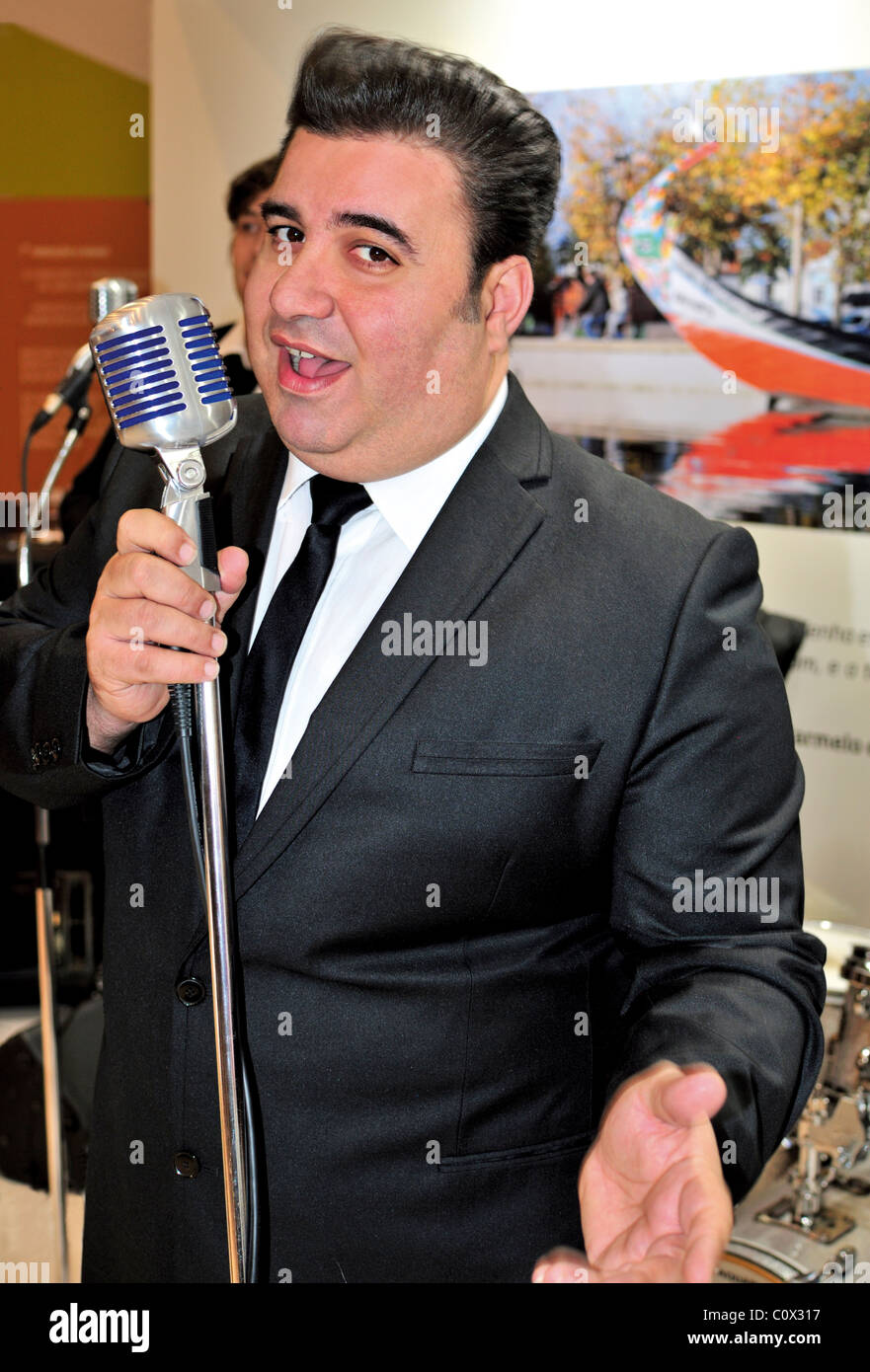 Portugal, Lisbon: Singer Marco Antonio of the Rock`n Roll Band 'Lucky Duckies' - Stock Image
