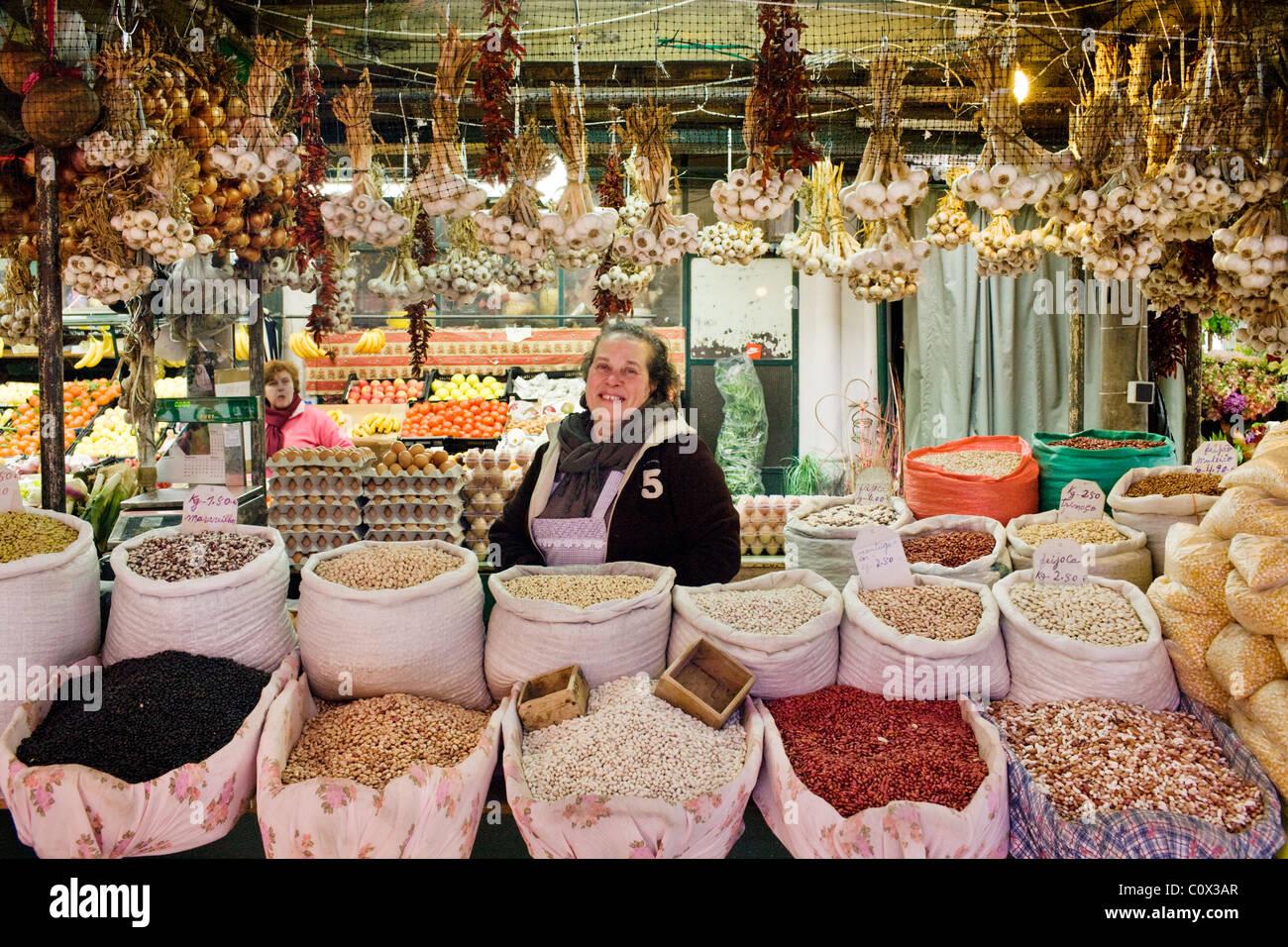 Vendor in Bolhão Market, Oporto, Portugal - Stock Image