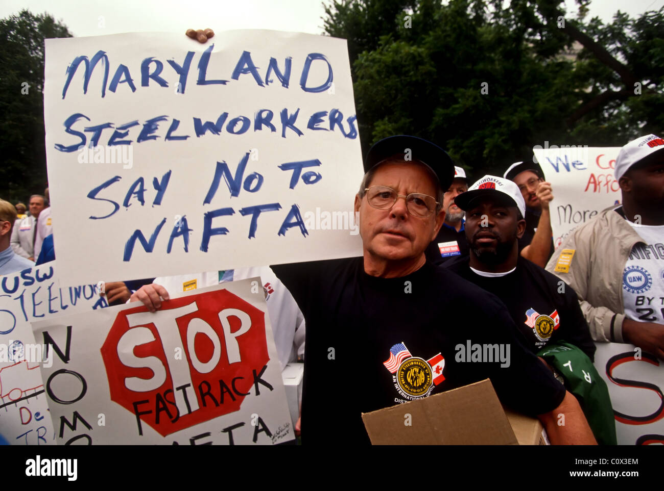 Unions and workers protest NAFTA enlargement outside The White House in Washington, DC. September 11, 1997 - Stock Image