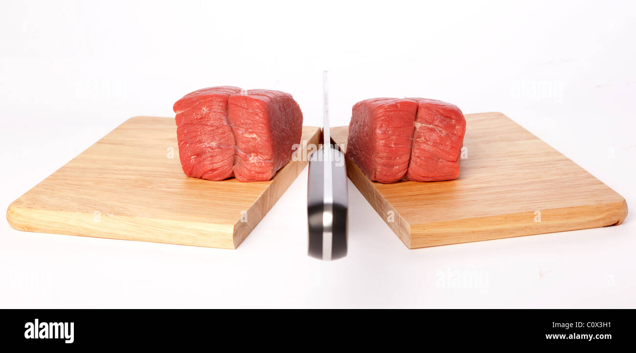 Meat Cleaver Chopping board - Stock Image